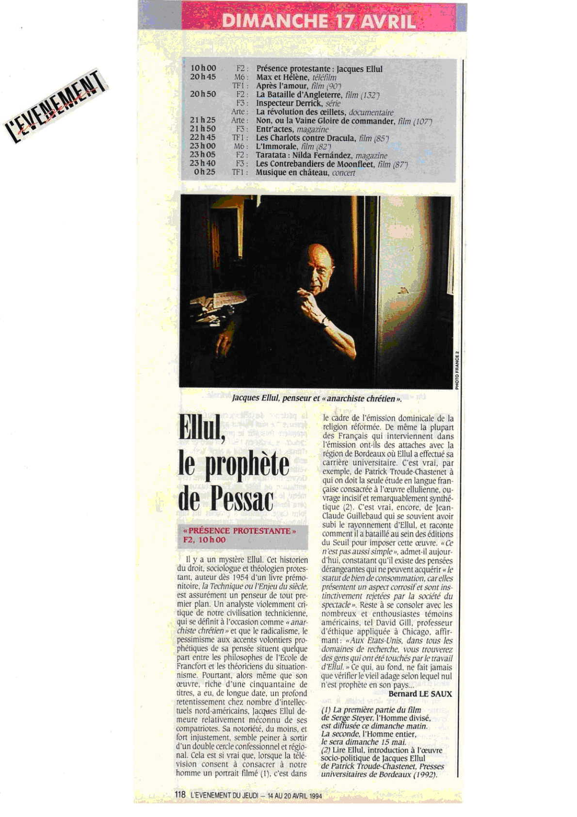 l`evenement-revue de presse jacques ellul