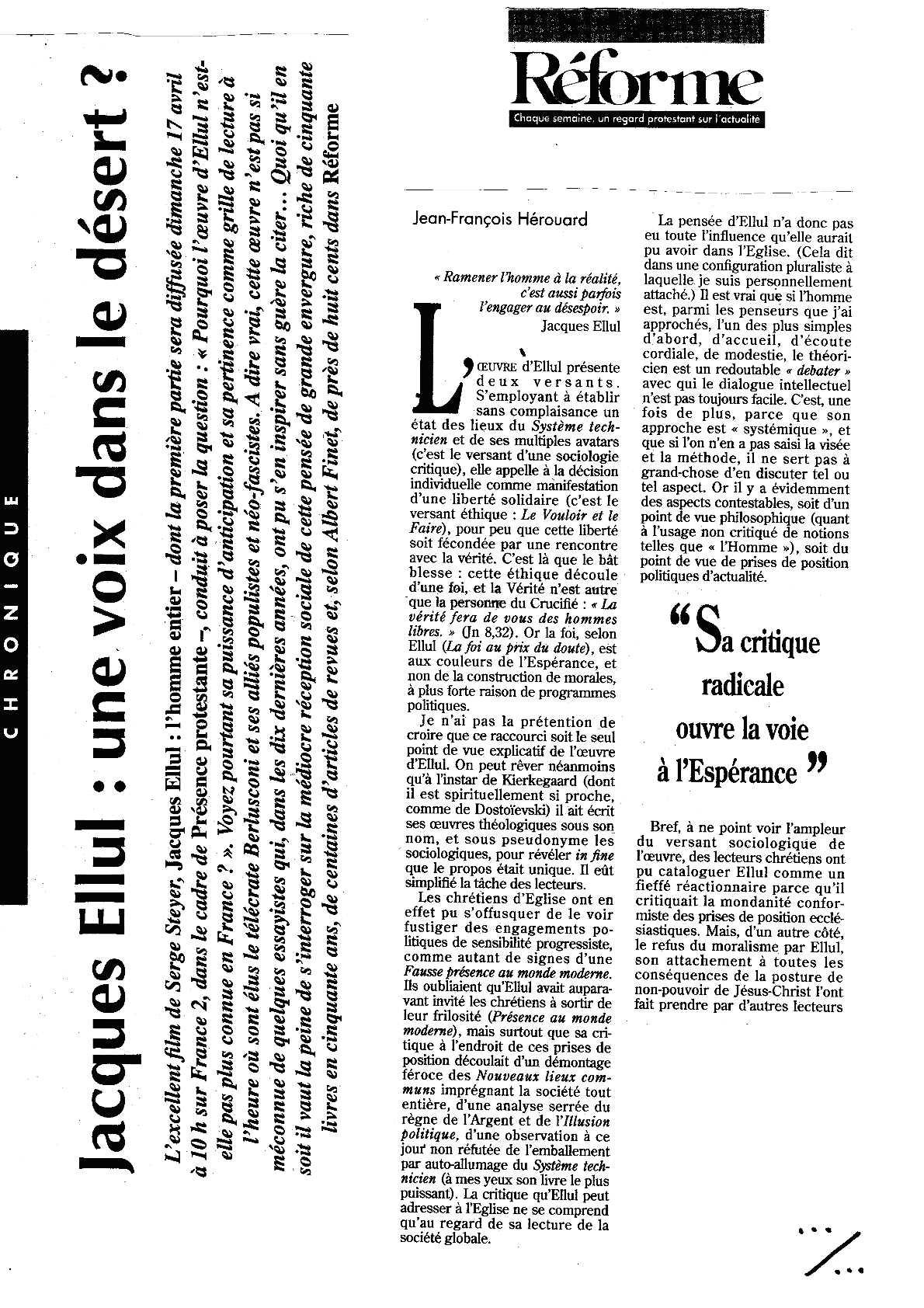 reforme(1)-revue de presse jacques ellul
