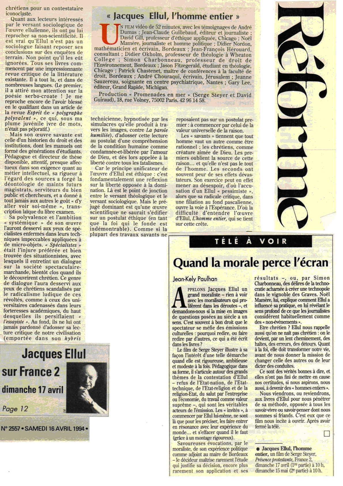 reforme(2)-revue de presse jacques ellul